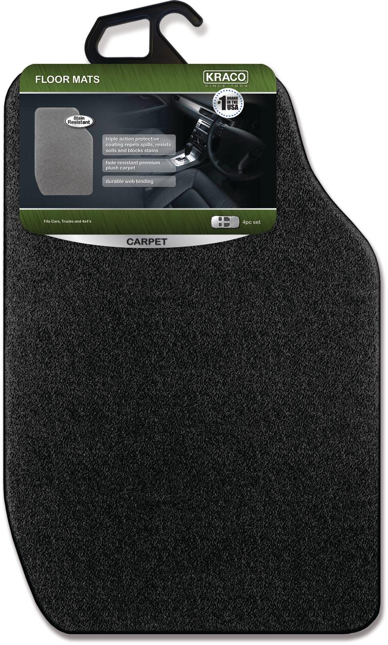 Kraco 4 Pc Grey Carpet Automotive Floor Mats Carpet